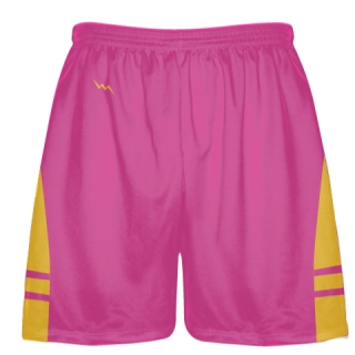 Hot Pink Gold Athletic Shorts - Boys Mens Lacrosse Shorts