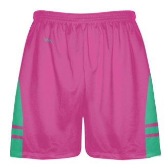 Hot Pink Teal Green Athletic Shorts - Boys Mens Lacrosse Shorts