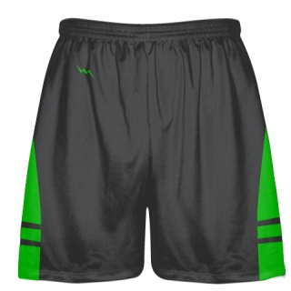 Charcoal Gray Green Lacrosse Shorts - Adult Lax Shorts