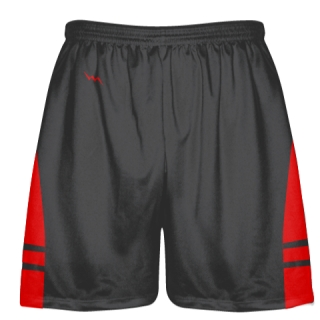 Charcoal Gray Red Lacrosse Shorts - Adult Lax Shorts