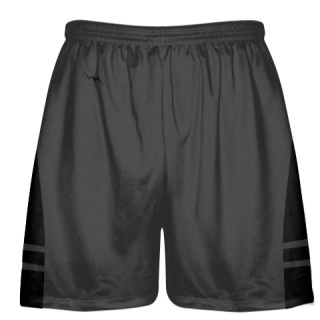 Charcoal Gray Black Lacrosse Shorts - Adult Lax Shorts