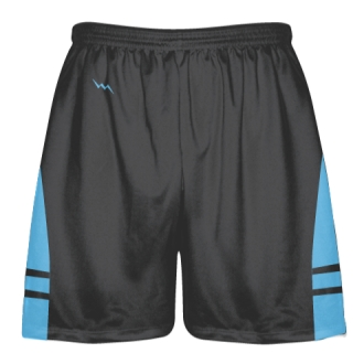 Charcoal Gray Light Blue Lacrosse Shorts - Adult Lax Shorts