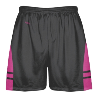 Charcoal Gray Hot Pink Lacrosse Shorts - Dye Sublimation Short
