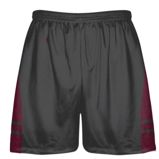 Charcoal Gray Maroon Lacrosse Shorts - Dye Sublimation Short