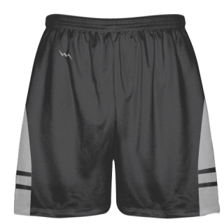 Charcoal Gray Silver Lacrosse Shorts - Dye Sublimation Short