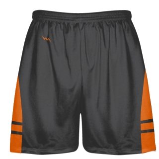 Charcoal Gray Orange Lacrosse Shorts - Dye Sublimation Short