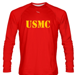 USMC LONG SLEEVE SHIRT RED GOLD LOGO