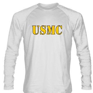 USMC LONG SLEEVE SHIRT WHITE GOLD LOGO