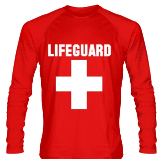 Long Sleeve Lifeguard Shirt Style 1 - Red Long Sleeve Guard