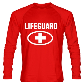 Long Sleeve Lifeguard Shirt Style 3 - Red Long Sleeve Guard