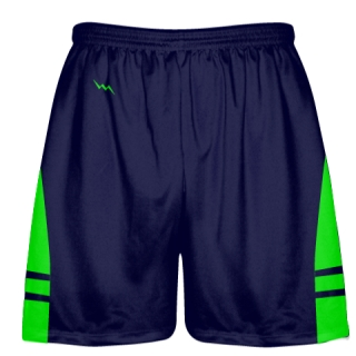 OG Navy Blue Neon Green Lacrosse Shorts - Mens Kids Lax Shorts