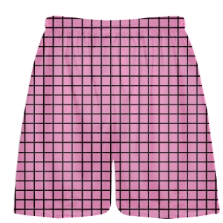 Grid Pink Lacrosse Shorts - Pink Black Lax Shorts - Youth Lacrosse Shorts