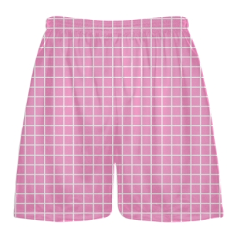 Grid Pink White Lacrosse Shorts - Pink Lax Shorts - Youth Lacrosse Shorts