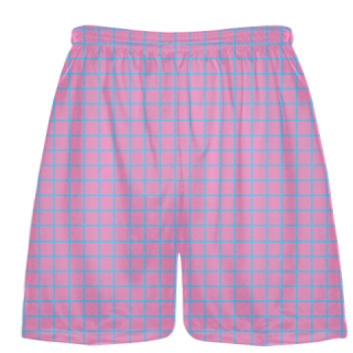 Grid Pink Light Blue Lacrosse Shorts - Pink Lax Shorts - Youth Lacrosse Shorts
