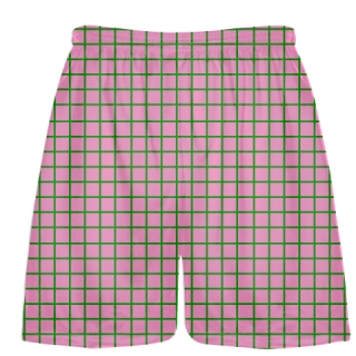 Grid Pink Green Lacrosse Shorts - Pink Lax Shorts - Youth Lacrosse Shorts