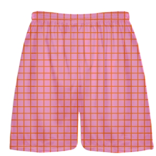 Grid Pink Orange Lacrosse Shorts - Pink Lax Shorts - Youth Lacrosse Shorts