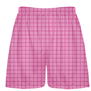 Grid Pink Hot Pink Gold Lacrosse Shorts - Pink Lax Shorts - Youth Lacrosse Shorts