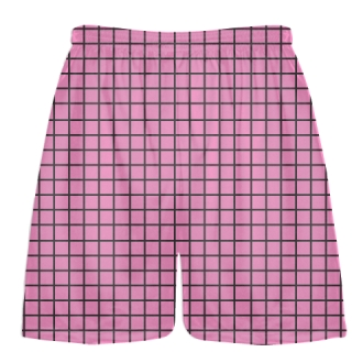 Grid Pink Charcoal Gray Lacrosse Shorts - Pink Lax Shorts - Youth Lacrosse Shorts