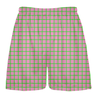 Grid Pink Neon Green Lacrosse Shorts - Pink Lax Shorts - Youth Lacrosse Shorts