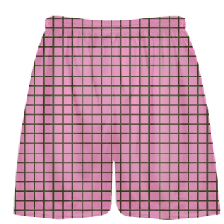 Grid Pink Forest Green Lacrosse Shorts - Pink Lax Shorts - Youth Lacrosse Shorts