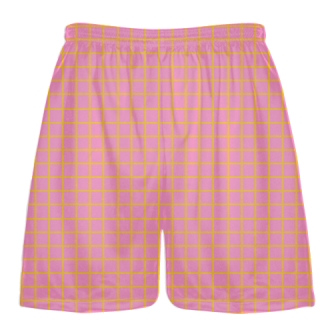 Grid Pink Athletic Gold Lacrosse Shorts - Pink Lax Shorts - Youth Lacrosse Shorts