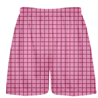 Grid Pink Cardinal Red Lacrosse Shorts - Pink Lax Shorts - Youth Lacrosse Shorts