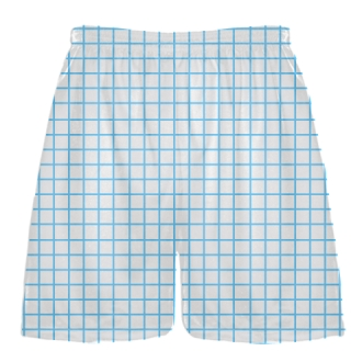 Grid White Powder Blue Lacrosse Shorts - Pink Lax Shorts - Youth Lacrosse Shorts