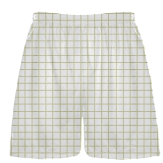 Grid White Vegas Gold Lacrosse Shorts - Pink Lax Shorts - Youth Lacrosse Shorts