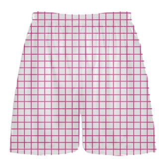Grid White Hot Pink Lacrosse Shorts - Pink Lax Shorts - Youth Lacrosse Shorts