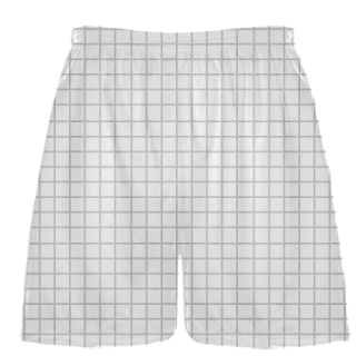 Grid White Silver Lacrosse Shorts - Pink Lax Shorts - Youth Lacrosse Shorts