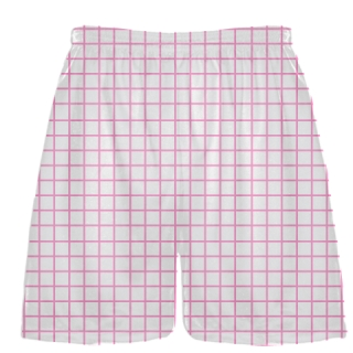 Grid White Pink Lacrosse Shorts - Pink Lax Shorts - Youth Lacrosse Shorts