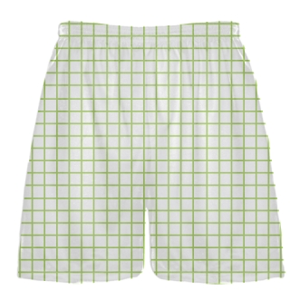 Grid White Lime Green Lacrosse Shorts - Pink Lax Shorts - Youth Lacrosse Shorts