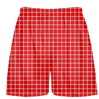 Grid Red White Lacrosse Shorts - Pink Lax Shorts - Youth Lacrosse Shorts