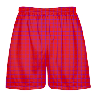 Grid Red Purple Lacrosse Shorts - Pink Lax Shorts - Youth Lacrosse Shorts
