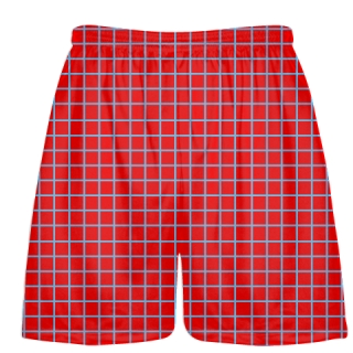 Grid Red Powder Lacrosse Shorts - Pink Lax Shorts - Youth Lacrosse Shorts