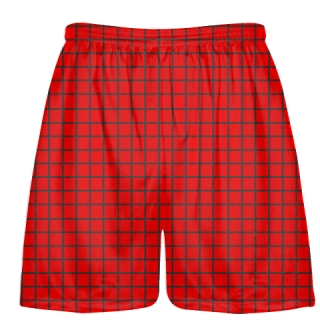 Grid Red Charcoal Gray Lacrosse Shorts - Pink Lax Shorts - Youth Lacrosse Shorts