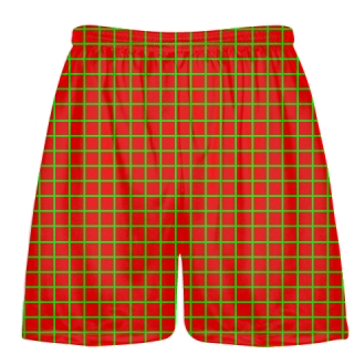 Grid Red Neon Green Lacrosse Shorts - Pink Lax Shorts - Youth Lacrosse Shorts