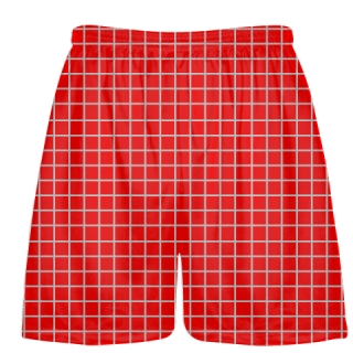 Grid Red Silver Lacrosse Shorts - Pink Lax Shorts - Youth Lacrosse Shorts