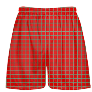 Grid Red Teal Lacrosse Shorts - Pink Lax Shorts - Youth Lacrosse Shorts
