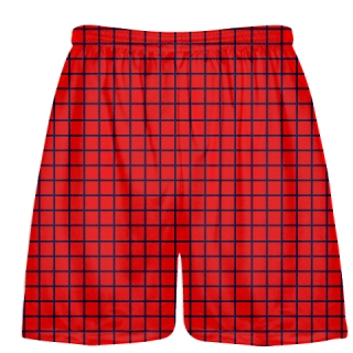 Grid Red Navy Blue Lacrosse Shorts - Pink Lax Shorts - Youth Lacrosse Shorts