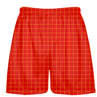 Grid Red Orange Lacrosse Shorts - Pink Lax Shorts - Youth Lacrosse Shorts