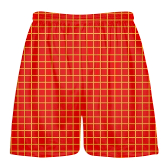 Grid Red Athletic Gold Lacrosse Shorts - Pink Lax Shorts - Youth Lacrosse Shorts
