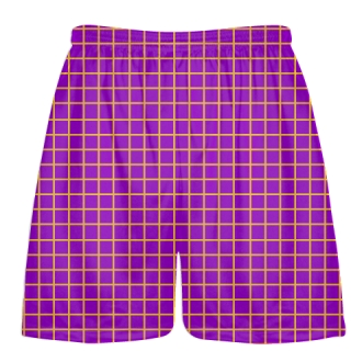 Grid Purple Athletic Gold Lacrosse Shorts - Pink Lax Shorts - Youth Lacrosse Shorts