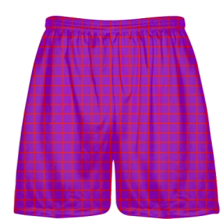 Grid Purple Red Lacrosse Shorts - Pink Lax Shorts - Youth Lacrosse Shorts