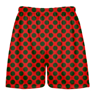 Red Forest Green Polka Dot Shorts - Boys Lacrosse Shorts - Mens Lacrosse Short