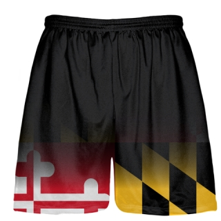 Maryland Flag Shorts Black Fade - Custom Maryland Flag Lacrosse Shorts