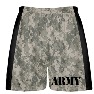 Army Dark Camouflage Shorts - Mens Boys Lacrosse Shorts Camo Army