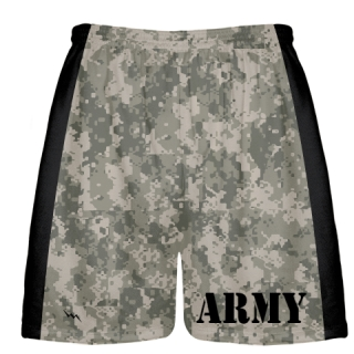 Army Dark Camouflage Short - Mens Boys Lacrosse Shorts Camo Army