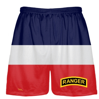 Red White Blue Army Ranger Shorts - Army Ranger Black Shorts - Athletic Shorts Army