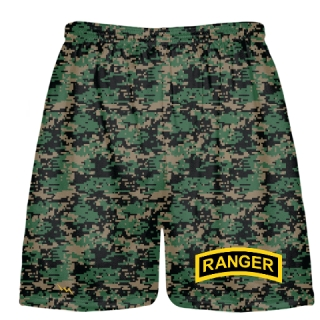 Green Digital Camouflage Army Ranger Shorts - Army Ranger Black Shorts - Athletic Shorts Army